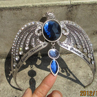 Harry Potter handmade Ravenclaw's diadem crown headdress with blue crystal and Words carving