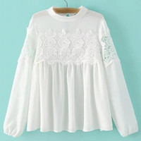 White Band Collor Crochet Lace Blouse