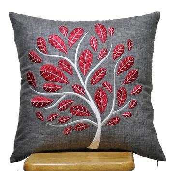 """Red Peacock Pillow Cover, Decorative Throw Pillow Cover 16"""" x 16"""", Ash Grey Linen Pillow Red Tree Embroidery, Grey Pillow , Red Cushion"""