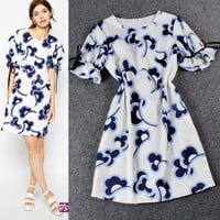 White Printed Tie Lantern Sleeves Loose Mini  Dress