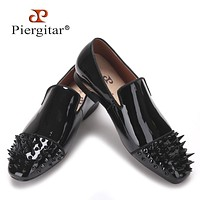 new Black Patent leather men loafers with Black long and short rivet toe Fashion Prom and Party men flats shoes