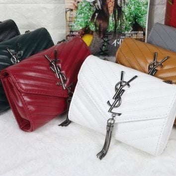 YSL 2017 new fashion solid color  leather stripe Hand bag [110661304335]