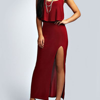 Wine Red Spaghetti Strap Ruffle Split Maxi Dress