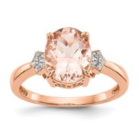 14k Rose Gold Diamond And Oval Morganite Ring