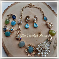 Necklace set~ Cottage Chic, blue green, pearl, set, necklace, earrings, bracelet ~Great gift womens statement