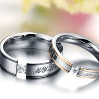 "Brand New Amazing Titanium Stainless Steel ""We Love Each Other"" Wedding Band Set Anniversary/engagement/promise/couple Ring Best Gift!"