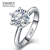 Big Promotion Gold Plated Ring With 18KGP Stamp Real White Gold Filled Ring 8mm 2 Carat CZ Diamond Wedding Rings For Women YH099