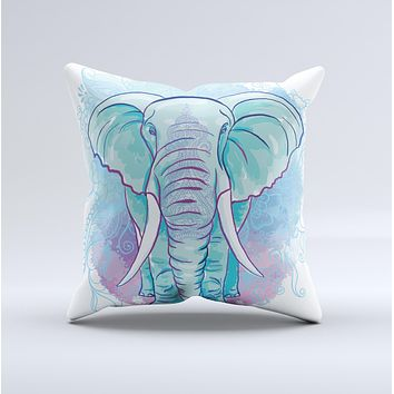 The Flourished Blue & Purple Sacred Elephant ink-Fuzed Decorative Throw Pillow