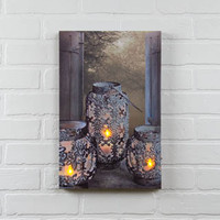 LIGHTED CUT METAL CANDLE CANVAS