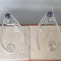 Silver Plated Handmade Wire Wrapped Purple Banded Agate Elf Ear Cuffs, Wire Weave, Spiral, Elven Ears, LARP