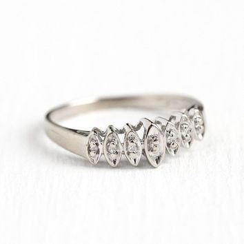 Diamond Wedding Band - Vintage 10k White Gold .07 CTW Ring Size 6 - Mid-Century 1960s Wedding Bridal Retro Fine Magic-Glo Jewelry