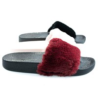 Matty01 By Wild Diva, Open Toe Fluffy Faux Fur Rubber Molded Footbed Slides