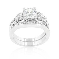 Bella 1ct Round Triplet Stone Engagement Ring Set | 4ct