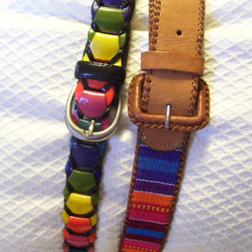 Women's Belts Crayola // Rainbow  Colors SELECT ONE Fabric Stripped on Tan Leather //  Woven Looped Colored Mad Men Steampunk Boho
