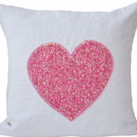 White linen pillow covers with pink sequin heart - Decorative cushion cover - Gift of love -Throw pillow 16X16 - wedding, anniversary gift.