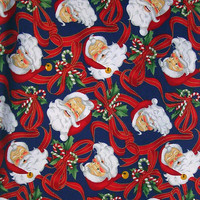 "Santa Claus Print All Cotton Vintage Fabric, Large Piece of Christmas Print Fabric, 68"" (127.7cm) long, 41"" (104.1cm) wide, Free US Shipping"