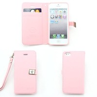fashion Ailun leather wallet card flip Case Cover Skin For Apple iPhone 5 5G 5S (pink)