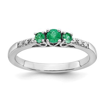 14k White Gold Emerald and Real Diamond 3-stone Ring
