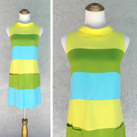 Mod Mini Dress, Vintage 60s Mondrian Style Mini Dress in Yellow, Turquoise, and Lime Green Linen, Color Block Summer Dress, Size 2 XSmall XS