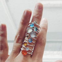 Sterling Silver Solar System Stacking Rings - Set of 10, Planets, Sun, and Pluto