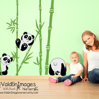 Panda fun nursery wall decal, nursery decals, kids room wall decal, tree wall decal, nursery decor, bamboo wall decal, panda wall decal
