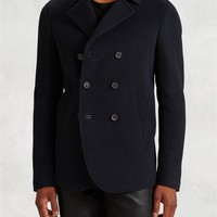 Leather Trimmed Peacoat