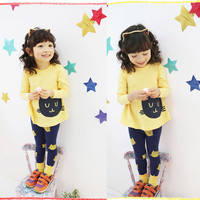 High Quality!! Two Pieces Baby Girls Kids Children Kitten Print Spring Clothing Set Casual Tops And Pants Clothing Set