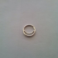 SEPTUM RING / Nose Ring/ with 1.5mm line of balls  / Sterling silver / Gold Filled, 18g, 16g / 8mm - 10mm