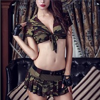 Sexy Army Costume  Military Tops and Skirt