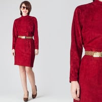 80s Wine Velvet Dress / High Collar Long Sleeve Oxblood Dress / Deep Red Cocktail Party Christmas Plain Minimalist Large L Dress