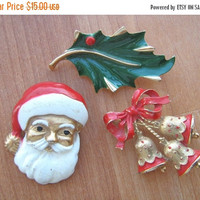 SALE Vintage Christmas Holiday Brooches 3 in lot