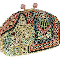 Luxury Elephant Style Women's Crystals Evening Bags Full Indian Colors Rhinestones Metal Zinc Alloy Bridal Party Clutches
