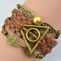 Antique Bronze harry potter magic hallows bracelet, harry potter bracelet, owl wing bracelet£¬001 = 1932246340