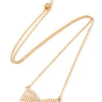 FOREVER 21 Pearlescent Bow Pendant Necklace Gold/Cream One