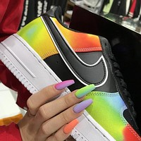 Nike AIR FORCE 1 LOW AF1 Black rainbow tie dyed colorful basketball shoes