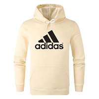 ADIDAS Tide brand classic print comfortable wild hooded hoodie Apricot