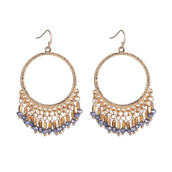 Gold Hoops with Lilac Beaded Tassel