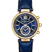 Michael Kors - Sawyer Goldtone Stainless Steel & Crocodile-Embossed Leather Subdial Strap Watch/Blue - Saks Fifth Avenue Mobile