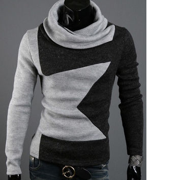 Fashionable Turtle Neck Long Sleeves Men's Sweater