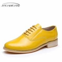 Patent leather big woman US size 11 designer vintage flat shoes round toe handmade yellow 2017 oxford shoes for women with fur