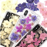 For iPhone X Karat Shell Petals Flowers Glitter 2 in 1 Soft Case For iPhone 6 6S 7 8 Plus