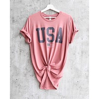 Distracted - USA Flag Graphic Tee in Mauve