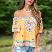 Feisty Fiesta Off The Shoulder Blouse