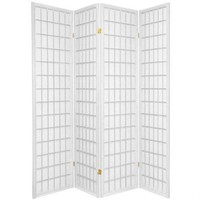 4-Panel Room Divider Oriental Shoji Privacy Screen in White