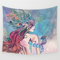 The Last Mermaid Wall Tapestry by Mat Miller