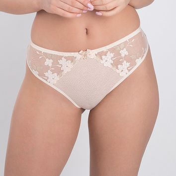 Sheer Mesh Tulle Embroidered Tanga Panty Valeria Biscuit