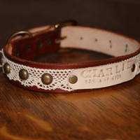 Custom/ Personalized/ Boho/ Leather/ Lace/ Antique Brass/ Dog/ Collar/ with Leather Name Plate