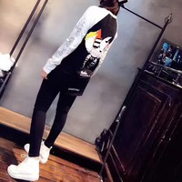 """Chrome Hearts"" Women Casual Multicolor Cartoon Pattern Retro Print Long Sleeve Trousers Set Two-Piece Sportswear"