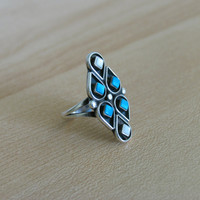 Vintage Sterling Silver Navajo Native American Turquoise and Mother of Pearl Ring Elliot Gasper Zuni Tribe