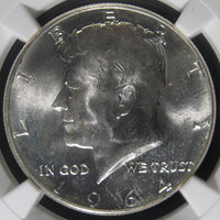 NGC Mint State MS64 Coin, Silver COIN Kennedy Half Dollar Coin 1964, USA Coin, Vintage Silver Money Currency, Graded Silver Coin, Old Coin